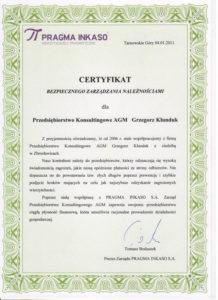 Certyfikat Pragma Inkaso