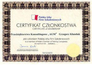 Certyfikat - Polska Izba Firm Szkoleniowych