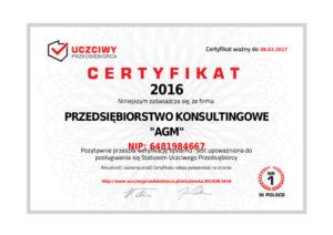 Certyfikat Uczciwy Przedsiębiorca