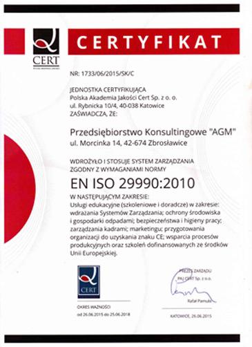 Certyfikat EN ISO 29990:2010